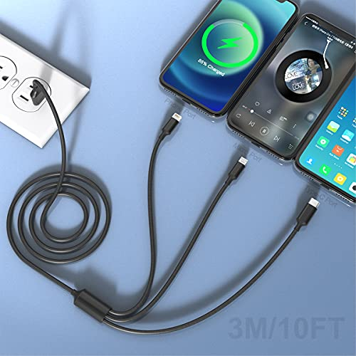 Cable Cargador Multifunción, Cable USB Múltiple 3 en 1 Trenzado De Nailon MTAKYI 3M Con Conector iP Micro USB Tipo C, Compatible Con iPhone12 11 XS 8 7 Plus Android Galaxy S9 S8 S7, Huawei, Xiaomi, LG