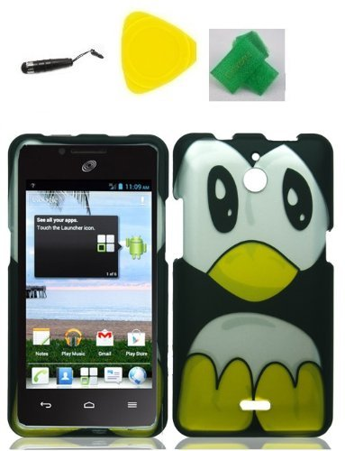 Penguin Faceplate Hard Phone Case Cover Cell Phone Accessory + Yellow Pry Tool + Stylus Pen + EXTREME Band for Huawei Valiant Y301 / Ascend Plus H881c / Huawei Ace
