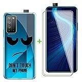 ZXLZKQ Fundas + 2 Piezas Protector Cristal Templado para Huawei Honor X10 Pro (6.63 Pulgadas), Transparente Case Silicona Suave Caso TPU Carcasa,Vidrio Película Protectora - No me toques