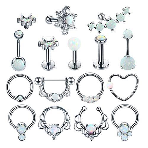 HLWJ 1 anillo de acero para el ombligo y cejas y ombligo, para cartílago o tragus, espiral, nariz, nariz, septum nasal, joyería (color metálico: Style16)
