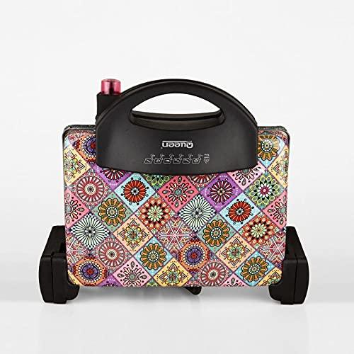 Queen Morocco - Tostadora (2000 W, termostato ajustable, apertura de 180 grados, mango resistente al calor, placas extraíbles y aptas para lavavajillas)