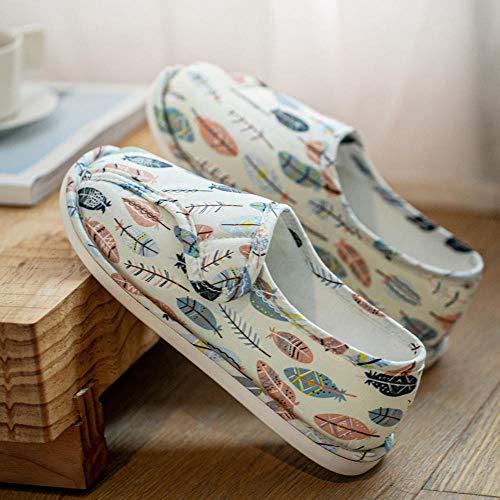 Verstelbare verbredingsschoenen,Ademende tas met zachte opsluitschoenen, indoor dunne sectie dikke bodem slippers-40_white,Diabetische wandelschoenen voor heren Ademende sneakers