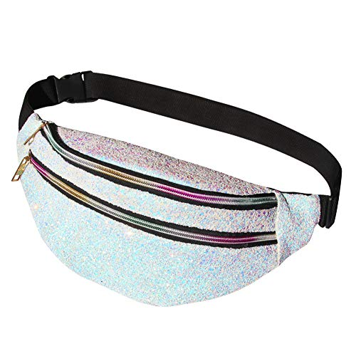Basumee 15cmx34cm Adult Glitter Bum Bag for Women Sequin Sports Bag Fanny Pack Shiny Bumbag Sparkle Waist Bag Pearl White for Running Ridding