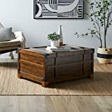 Rectangular Coffee Table Trunk with Storage Rustic Rich Walnut Finish Wood