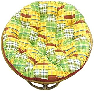 Cotton Craft Papasan Chair Cushion (unfilled Shell only) - Madras Plaid Yellow Multi, 100% Cotton Duck Fabric, Fits Standard 45 in Round Chair - Do it yourselfers - Fill at Home and Save
