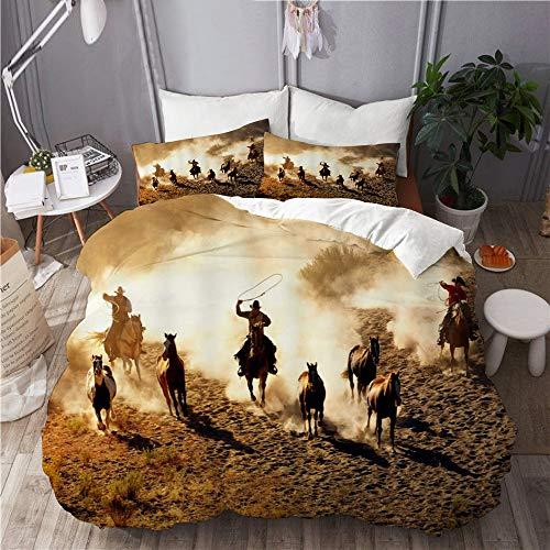 XINGAKA Funda nórdica Estampada,Wild West Cowboy Montando Caballos en el Desierto,Conjunto de Ropa de Cama de poliéster de 3 Piezas 200x200cm