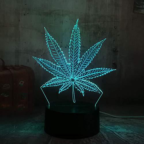 Orangeww 3d Illusion Nachtlicht/Touch Tisch Schreibtischlampe / 7 Farbe Licht für Mädchen/Kinder Tag Geschenk/Kunst und Handwerk/Weed Hanfblatt