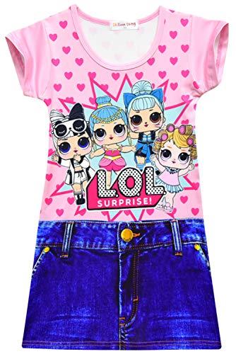 Meisjes jurken zomerjurken casual ronde hals T-shirt jurk blousejurk partyjurk avondjurk mini-jurk blousejurk 140 roze