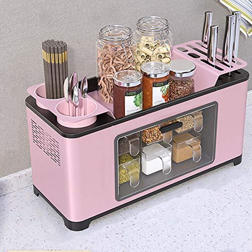 MEVIDA Estante De Cocina De Acero Inoxidable,Multi-función Organizador De Encimeras,Portacuchillas Botella De Condimento Estante De Condimento con Cajones Y Tabla De Drenaje-A/Pink 43x17.5x22cm