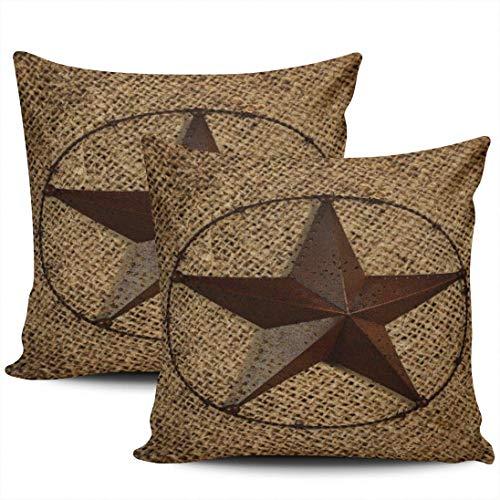 Primitive Western Country Texas Star Fundas De Almohada Decorativa Funda De Almohada para Cojín Transpirables Almohada Cubierta para Coche Cumpleaños Oficina Juego De 2, 40x40 cm