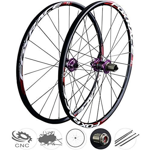 GJZhuan Juego de Ruedas de Bicicleta de MTB, Doble Pared de Aleación de Aluminio Rueda la Bici Freno de Disco Hub Fibra Carbono Liberación Rápida 24 Agujero 7/8/9/10/11 Velocidad