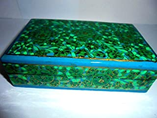 Artcollectibles India 5''L x 3'' W X 1.5''H Decorative Handpainted Jewelry Box Wooden with Intricate Handpainting in Paper Mache