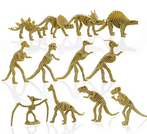 GiftExpress 24 pcs Dinosaur Fossil Skeletons, 3.7' Assorted Dino Bones Figures, Science Play Dinos, Fossil Toys