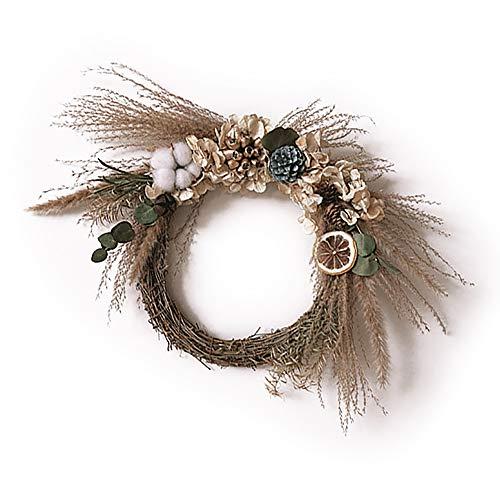 luckiner Corona de Navidad con flores secas, materiales para decoración de cumpleaños, fotografía, adornos florales, estilo nórdico