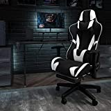 Flash Furniture X30 Gaming Chair Racing Office Ergonomic Computer Chair with Fully Reclining Back and Slide-Out Footrest in Black and White LeatherSoft