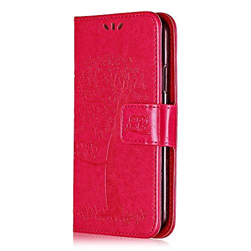 THRION - Funda para iPhone SE/iPhone 5/iPhone 5S, piel sintética con tapa para iPhone SE/iPhone 5/iPhone 5s, con función atril y tarjetero, color rojo rosa