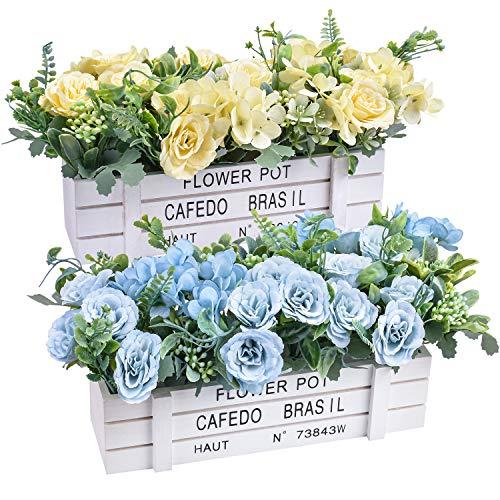 Flores artificiales - Plantas de flores de rosas de seda falsas en jarrón de madera para decoración de patio de oficina,...