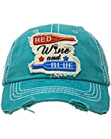 BH-203-RWB46 Distressed Patch Baseball Cap - RED Wine & Blue - Teal