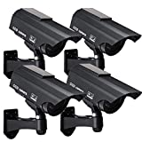 Solar Powered Fake Security Camera, Bullet Dummy Surveillance System with Realistic Red Flashing Lights and Warning...