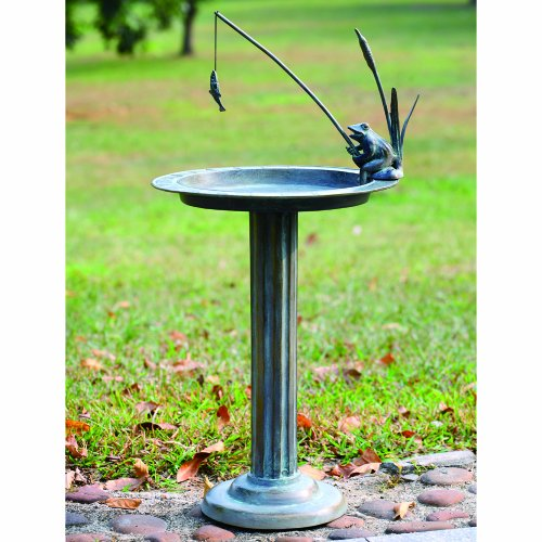 SPI Home 33302 Fishing Frog Sundial/Birdbath