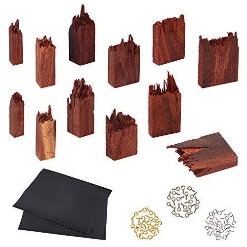 PandaHall 12 Stück Broken Holzstücke Sandelholz Broken Holz mit Augennadel Peg Bails für Epoxidharz Crafts Anhänger Halskette Landschaft DIY Schmuckherstellung