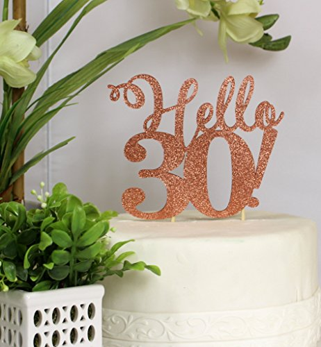 All About Details Copper Hello 30 Cake Topper, 6 x 9
