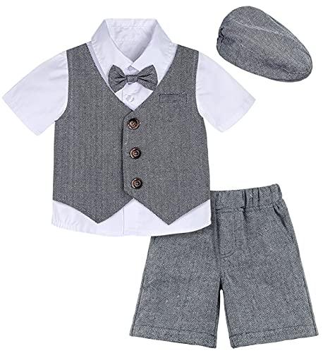 mintgreen Neugeborene Junge Taufe Outfit mit Hut Smoking Anzug 4er Setz, 12-18 Monate, Dunkelgrau (Herstellergröße : 80)