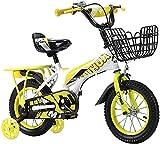 DFBGL Bicicletas para niños Bicicleta para niños de 12,14 Pulgadas con Ruedas de Entrenamiento, Frenos de Mano y Canasta para niñas de 2 a 5 años, Bicicleta para niños con 85% ensamblado