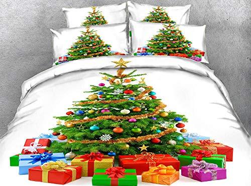 Generic Branded Impreso Funda nordica 220x240cm con 2 Fundas de Almohada 3 Piezas Árbol de Navidad y Regalos 100% Poliéster Microfibra Muy Suave hipoalergénico