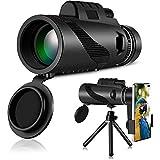 XUBX Telescopio monocular de Alta definición, 12x50 HD Monocular con Adaptador de Soporte para Smartphone y trípode, Impermeable y Antivaho, para observación de pájaros, Caza, Camping, Viajes