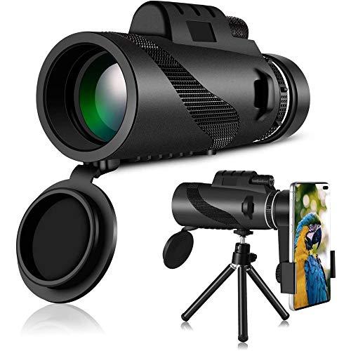 XUBX 12x50 Telescopio monoculare ad alta definizione, HD Cannocchiale Monocular Telescope professionale con supporto per smartphone e treppiede, impermeabili, per campeggio, escursionismo, viaggi