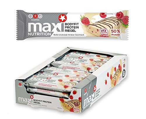 MaxiNutrition Bodyfit Proteinriegel Weiße Schokolade-Himbeere – Low Carb, High Protein Bar für den Muskelaufbau und einen Energiekick – 24 x 40 g Eiweiß Riegel
