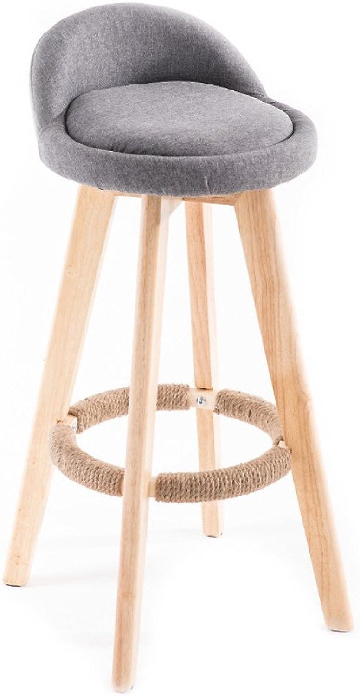 Wood redation Bar Stools, Retro Bar Chair Breakfast Stools Swivel Kitchen Chair Cotton Linen seat with Backrest-C
