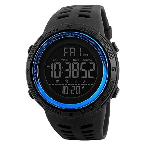 TONSHEN Digitales Relojes de Hombre Deportivos Militares Táctica 50M Resistente Agua Outdoor LED Display Multifuncional Electrónica Plástico Bisel Y Correa Goma Relojes de Pulsera (Azul)