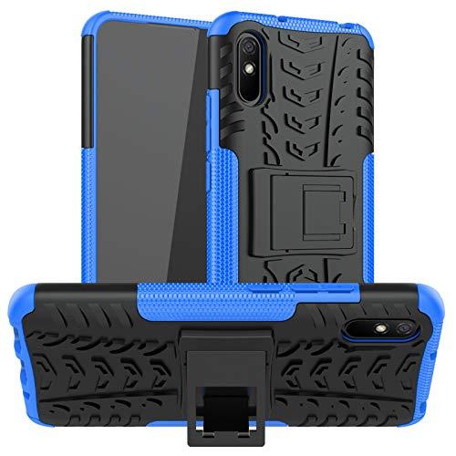 betterfon | Xiaomi Redmi 9A Hülle Outdoor Handy Tasche Hybrid Hülle Schutzhülle Panzer TPU Silikon Hard Cover Bumper für Xiaomi Redmi 9A Blau