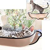 Cat Window Mounted Bed w/Suction Cups - Cat Window Perch Car Hammock Mount Bed Seat Lounger - Kitty Resting Sofa Safe Sunbath for Small&Middle Cats(Beige)
