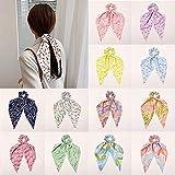 Nueva impresión floral mujeres coletero lazos ponytail titular arco nudo cinta goma bandas niñas pelo cuerda accesorios