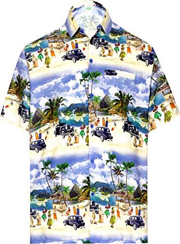 HAPPY BAY Hawaiano Vacaciones Pechera Bolsillo Fiesta en la Playa de los Hombres Azul_AA265 S