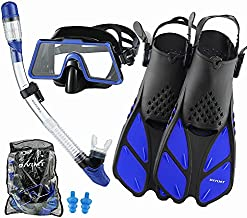 DiVLMT Mask Fin Snorkel Set for Adult, Adult Snorkeling Gear with Fins Wide View Snorkel Fin Set Scuba Mask with Flippers Anti Leak, Diving Mask Set Anti Fog