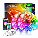Phopollo WiFi Smart Led Lights 65.6 ft with Remote Compatible with Alexa Google Home App Control Music Mode Led Light Strips for Bedroom, Living Room, Kitchen