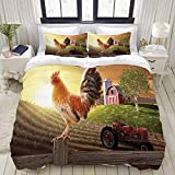 WINCAN Farm Barn Yard Image with Rooster Animal Early Bird Nature and Rising Sun 3 Pieces Bedding Set Double Brushed Microfiber Duvet Cover with 2 Pillow Shams,Zipper Closure,Corner Ties (104'X90')