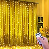 FishOaky Tenda Luminosa, Tenda Luci 300 LED 3mx3m, Catena Luminosa Luci Stringa Filo di Rame Impermeabile, Telecomando 8 Modalità e Timer, Cascata di Luci USB per Giardino Festa Esterni (Bianco Caldo)