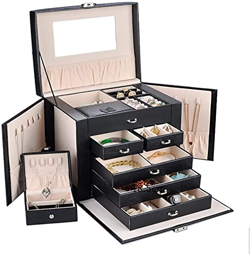 2 en 1 caja de joyería enorme / organizador / Caso de piel sintética con pequeño estuche de viaje, regalo para niñas o joyas de mujer, negro