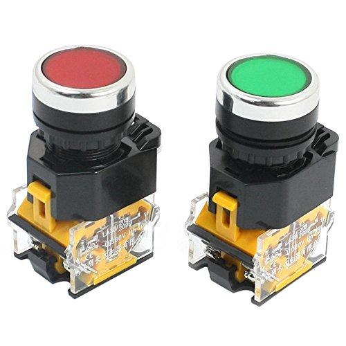 NEYOANN 2 Piezas 22Mm Montaje 10A 380V DPsT Rojo Verde Interruptor de BotóN MomentáNeo