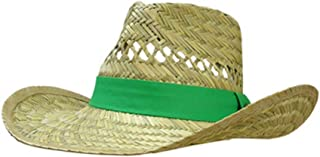 Brand Green Straw Hat with Neck Strap