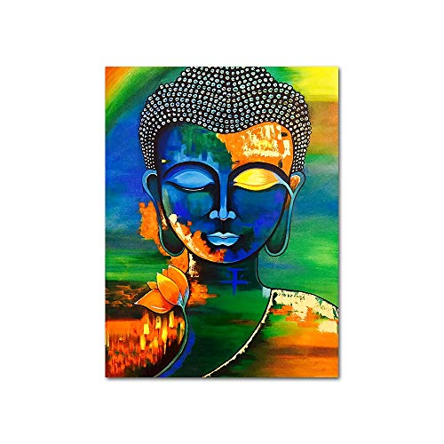 YGYT Canvas Wall Art for Buddha Buddhism Poster Colorful Flower Painting on Canvas for Home I Unframed I 24x32 inches