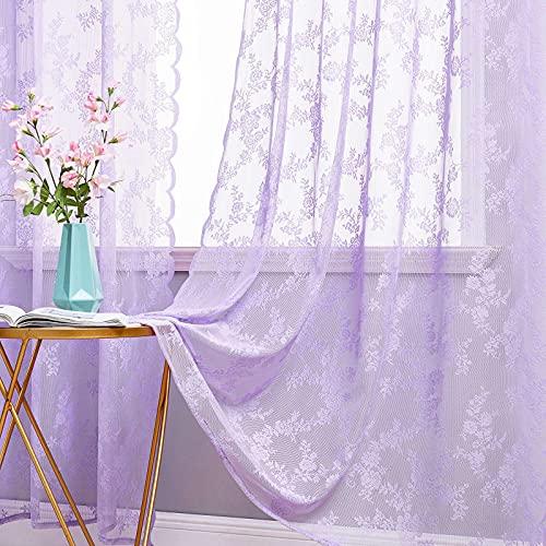 MIULEE 2 Hojas Cortinas Salon Lace Visillos Cortina de Encaje Floral Cortinas Translúcidas Florales de Habitacion Dormitorio Tul con 8 Anillas Rómanticas para Ventana Balcon Salón 150x225cm Púrpura