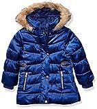 LONDON FOG Girls' Toddler Faux Fur Bottom and Hood Matte Shimmer Jacket, Puffer Blue Satin, 4T