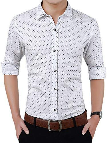 Super weston Cotton Polka Print Dotted Shirts for Men for Formal Use,100% Cotton Shirts,Office Wear Shirts, M=38,L=40,XL=42 (White, Large)