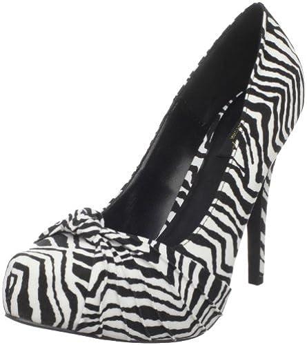 Pin Up Couture Couture Couture Plateau Pumps SAFARI-06, Blk-Wht Zebra Print Velvet, 36 EU  bestes Angebot